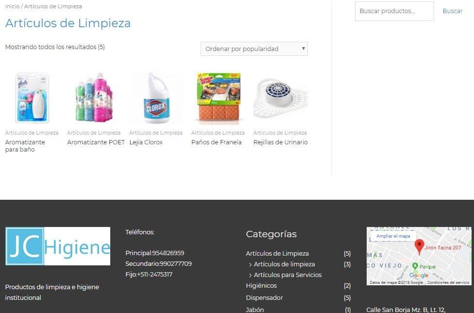 Web JC Higiene (Equipos de Limpieza)