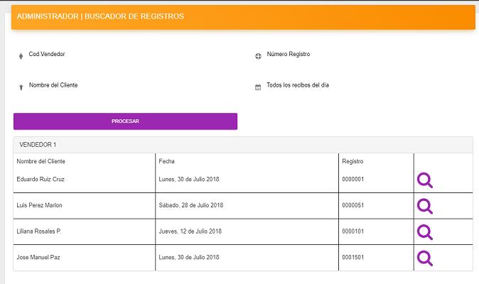 Sistema para registro de Recibos