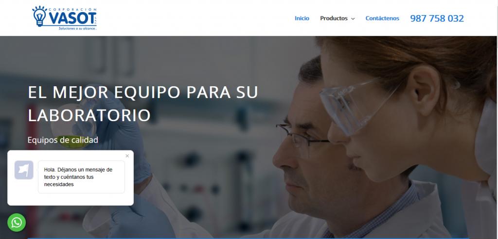 Web Corporación Vasot (Equipos de Laboratorio)